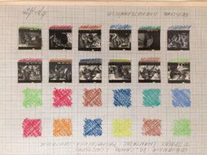 Lygia Pape, Desenhos - Espaços Imantados, Registro Cinematográfico , 1980, collage e pastel-li a cera su carta millimetrata