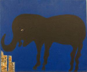 Angela Passarello, Elefante con fondo blu, 2013