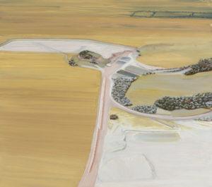 Carol Rhodes, Surface Mine, 2009 – 2011, olio su tavola, 50 x 56,5 cm, courtesy of the Estate of Carol Rhodes