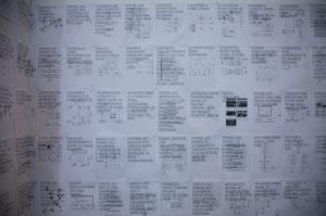 Paolo Cirio, Sociality, 2018, digital print on paper, variable dimensions, installazione per Fondazione Sant'Elia. Ph A.Gambino, courtesy Cassata Drone Expanded Archive