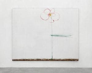 Luca Bertolo, Il fiore di Anna #2, 2019, olio e pastelli su tela, 200 x 250 cm, courtesy Spazio A, Pistoia