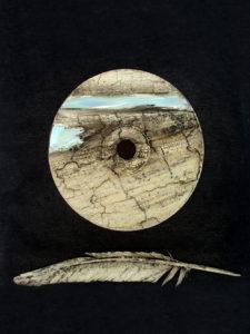 Ruggero Maggi, Soaring Flight, 2018, polimaterico e craquelé su tela, 25 x 30 cm, courtesy Biamt Timisoara