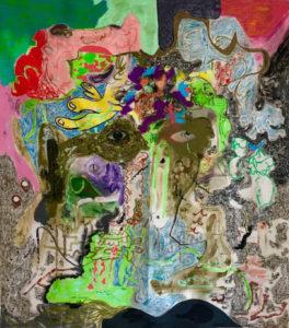 Michael Bauer, Boy, 2017, olio, pastello, carboncino, acrilico su tela, cm 91x81. Courtesy Norma Mangione Gallery, Torino