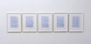 Irma Blank,Gehen, Second Life M, 2018, pennarello su carta trasparente