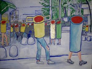Antonio Serrapica, Studenti a Scafati con passaggio a livello, 2019, acrilico su tela, 50 x 70 cm, courtesy Galleria Memoli, Potenza