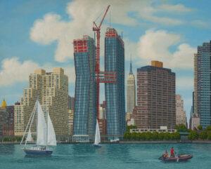 Aldo Damioli, Venezia New York, 2016, acrilico su tela, 80 x 100 cm, ph courtesy DL Arte, Milano