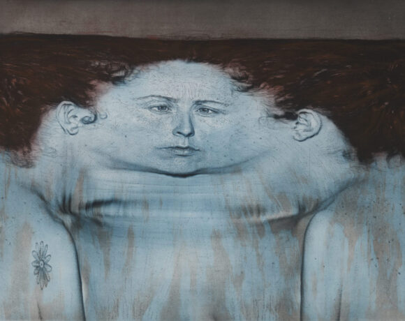 MCBA Kiki Smith, My Blue Lake, 1995. Photogravure et lithographie en 3 couleurs sur papier Arches En Tout Cas, 110,5 x 139,1 cm. Impression et edition: Universal Limited Art Editions, Bay Shore, New York. Ph courtesy Universal Limited Art Editions, Bay Shore, New York and MCBA Lausanne