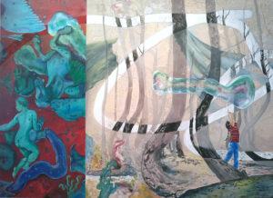 Paola Volpato, Aria (dalla serie F.A.T.A.), 2016, acrilico, olio su tela cotone, soft pastel, 160 x 220 cm, collezione R. Fratò