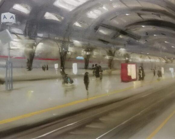 Gian Marco Capraro, Stazione centrale, 100x60cm, olio su tela, 2021