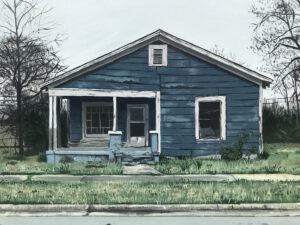 • Joel Boyd, Blue House, Little Rock, 2020, acrylic on canvas, 18 x 24 inches, ph courtesy AMFA