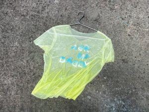 Hyun Cho, Ask My Daddy #2, resin, colour pigment, T-shirt, aluminium hanger, 70 x 56.5 x 2 cm, 2021. Photo courtesy of the artist