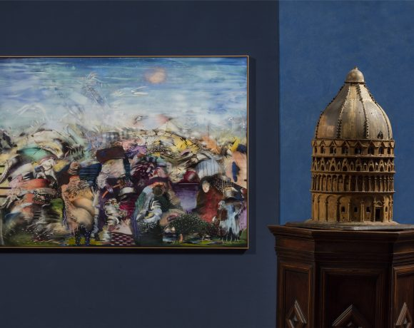 Ali Banisadr, Beautiful Lies, Installation view al Museo Stefano Bardini, ph. Serge Domingie, Courtesy Museo Stefano Bardini e Museo di Palazzo Vecchio, Firenze