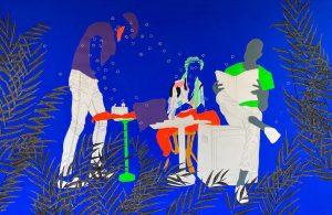 Moustapha Baidi Oumarou, Les moments au quartier, 2021, acrylic and posca on canavs, courtesy Afikaris Gallery, Paris