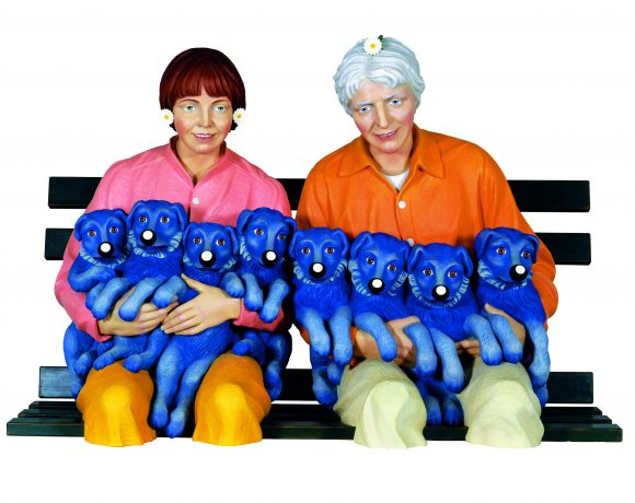 Jeff Koons, String of puppies, 1988, legno policromo, 106,7 x 157,5 x 94 cm, AP from an edition of 3 plus 1 AP. Private Collection, courtesy Hauser & Wirth